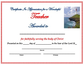 church certificate of appreciation