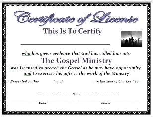 Free certificate template certificate of license for Pastor appreciation certificate template free
