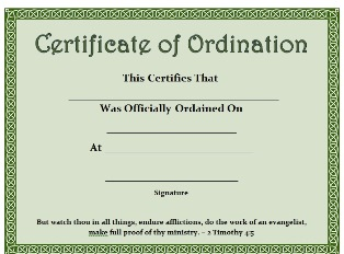 photo about Printable Ordination Certificate called No cost Printable Certification - Certification of Ordination