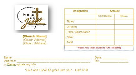 Church Offering Envelope Templates - Church offering envelopes templates free