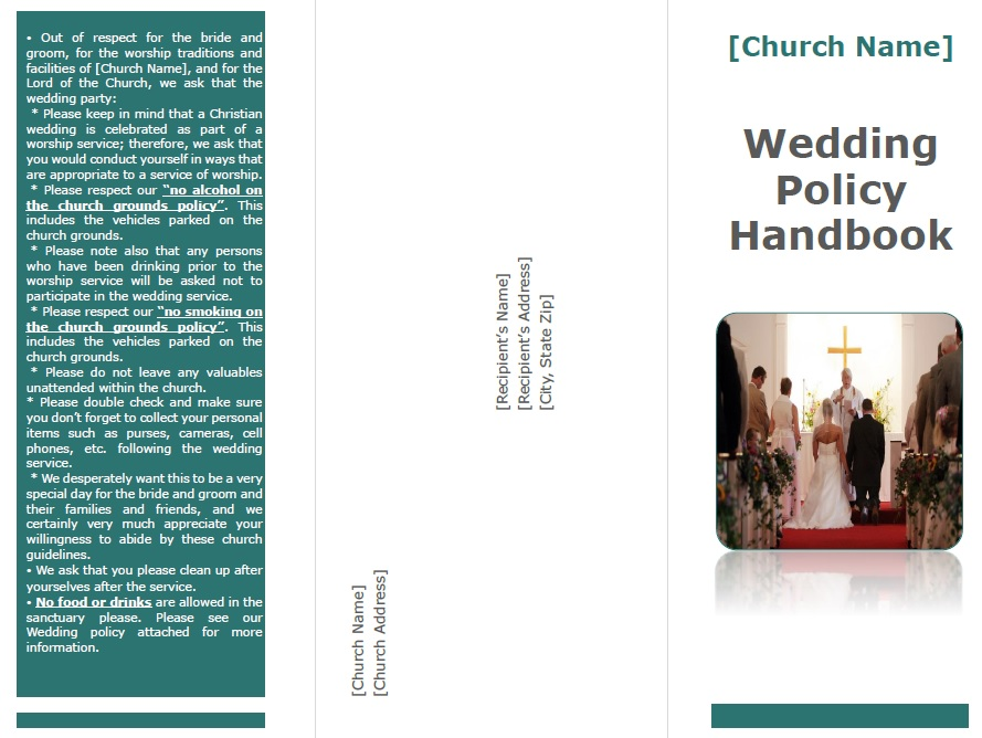 wedding policy handbook sample brochure
