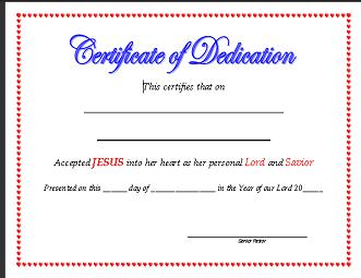 Baby dedication certificate template free