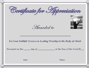 pastor appreciation certificate template