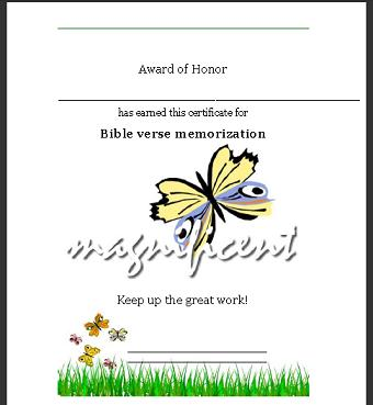 Sunday School Certificate Bible Verse Memorized