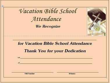 Vbs certificate free vacation bible school certificates for Bible study certificate templates