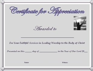 Certificate of appreciation for worship leader yadclub Gallery