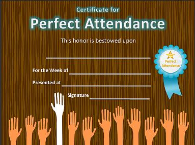 For a child to receive an award especially for perfect attendance